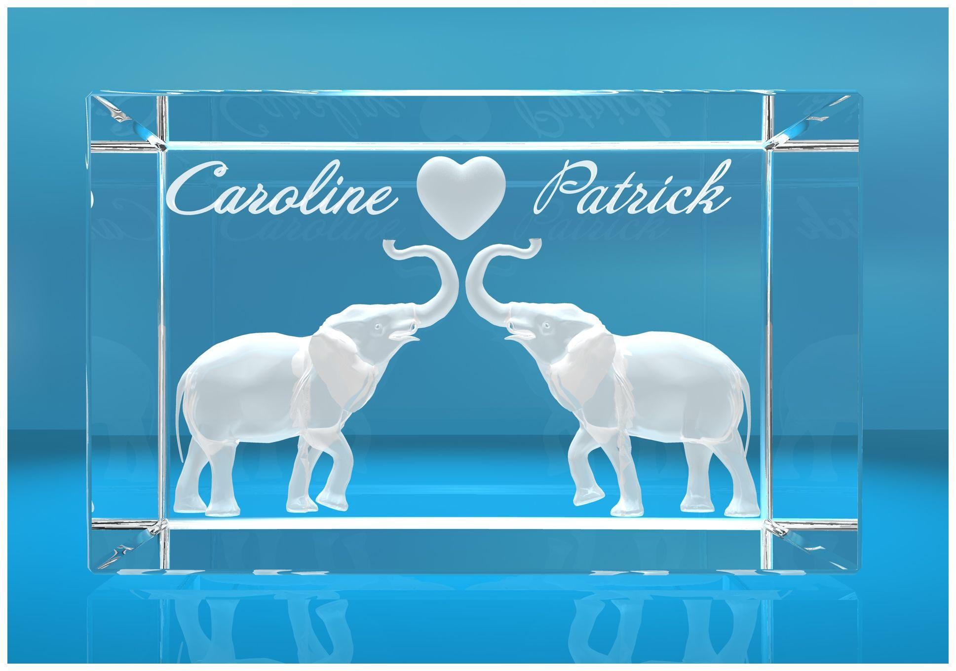 3D Glasquader   verliebte Elefanten mit Herz in 3D und zwei Wunschnamen   Geschenk für den Partner die Partnerin   zum Valentinstag Jahrestag Hochzeit