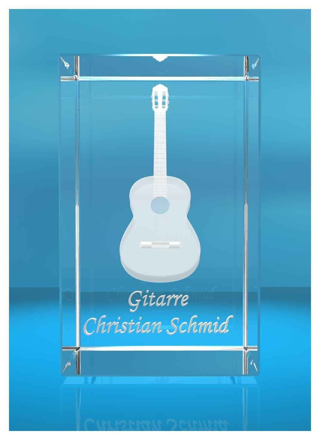 3D Glasquader | Gitarre No. 5 mit Wunschnamen | Geschenk für Gitarrist | Musiker | Bandmitglied | Akustikitarre | Konzertgitarre