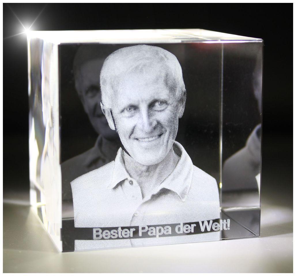 VIP-LASER I 3D I Glasfoto Kristall Würfel I Gravur Deines Vaters / Opa in 3D!