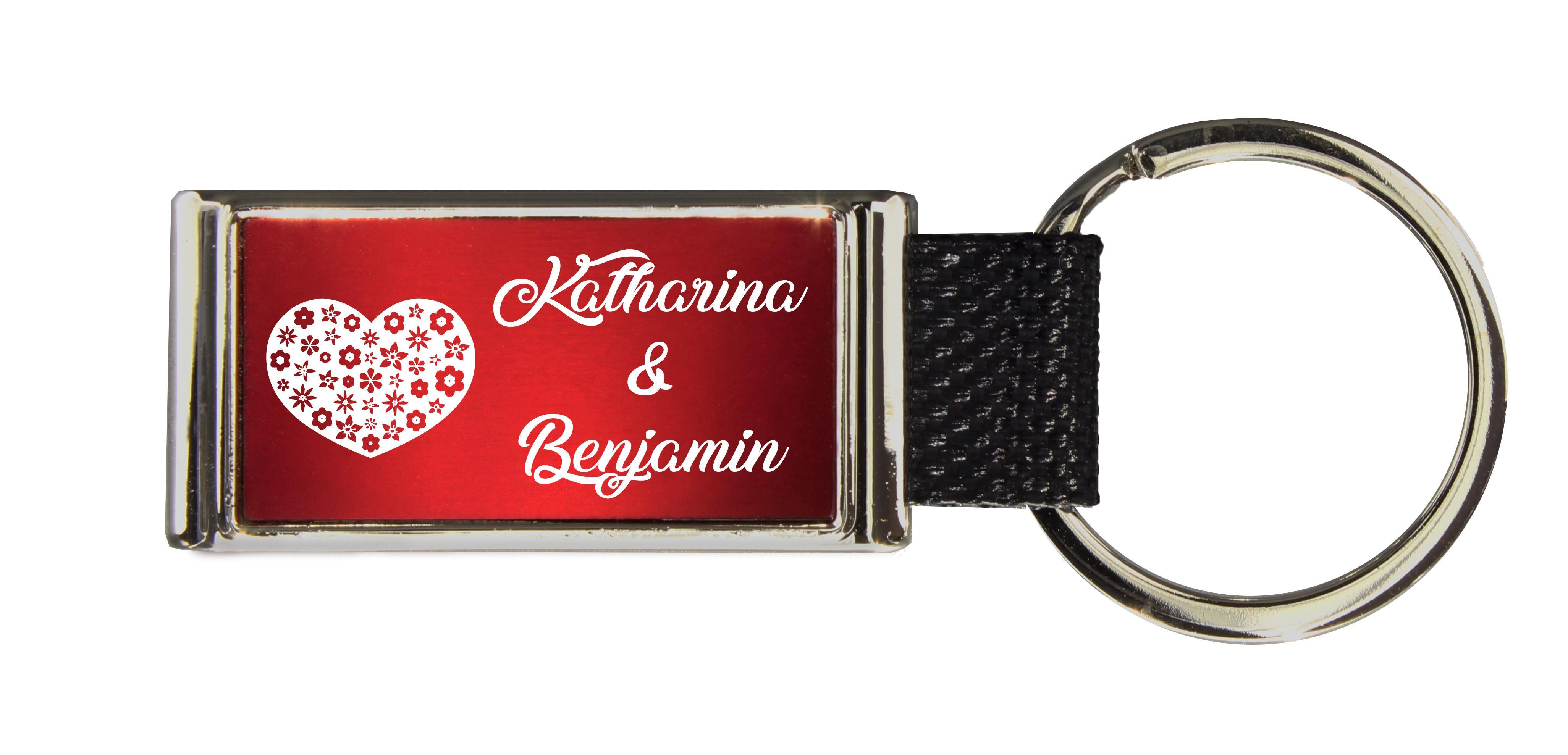 Schlüsselanhänger GLORIA   Liebesmotiv mit 2 Namen graviert   Motiv M017