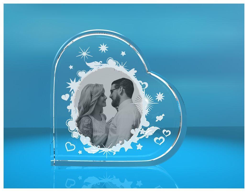 Glasherz XL verzierter Bilderrahmen mit Sternen und Herzen   Fotoframe mit Wunschfoto   Geschenk für Freundin   Freund   zum Valentinstag   Jahrestag   Love Goals   zu Weihnachten   zum Geburtstag   Muttertag   beste Mama