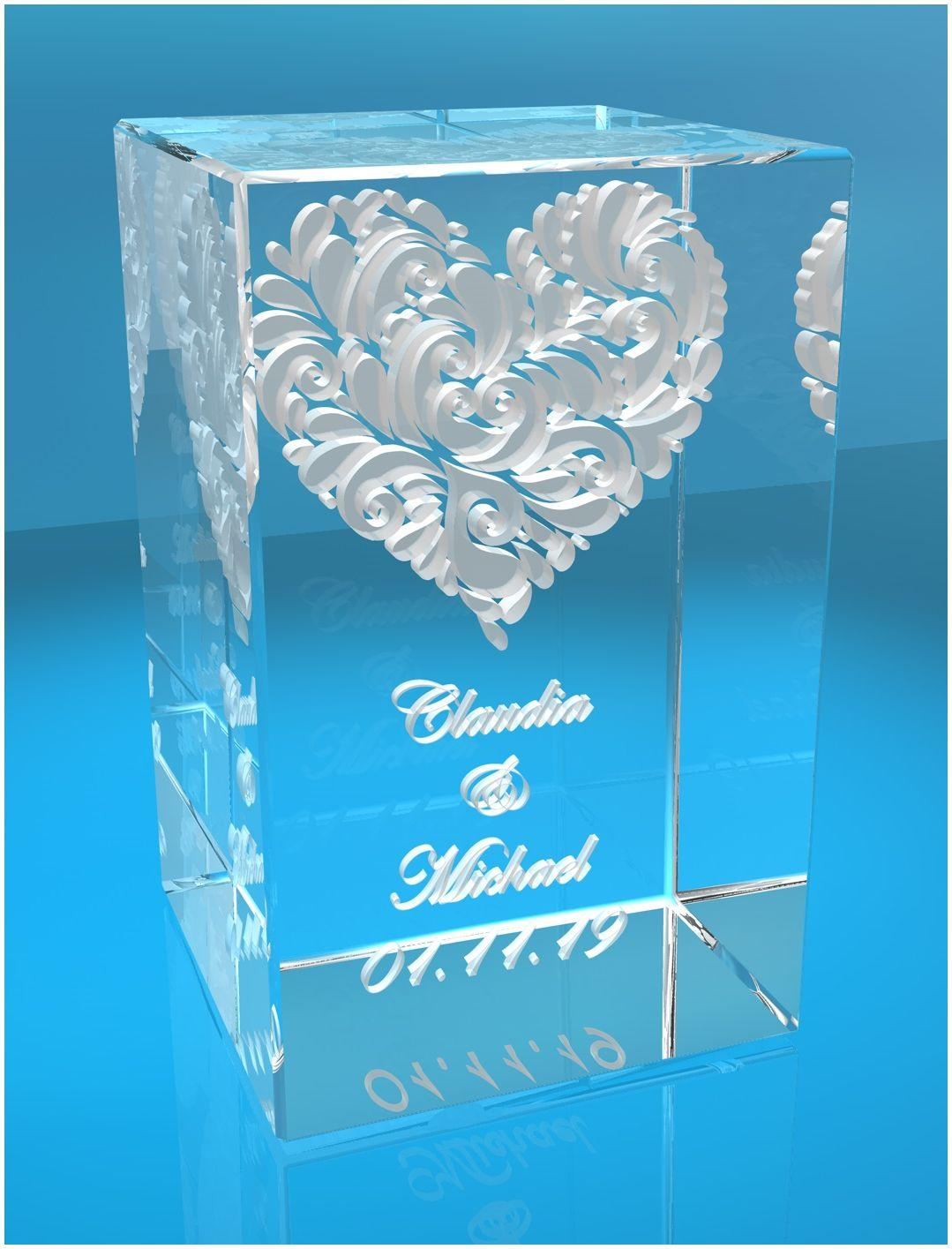 3D Glasquader   verziertes Herz   Name + Datum