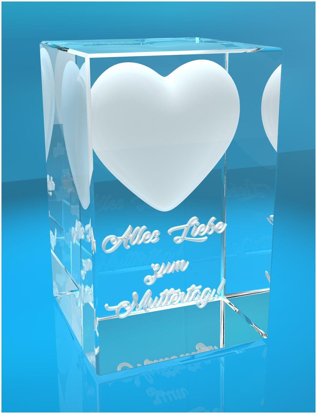 3D Glasquader I Verziertes Herz I Alles Liebe zum Muttertag!
