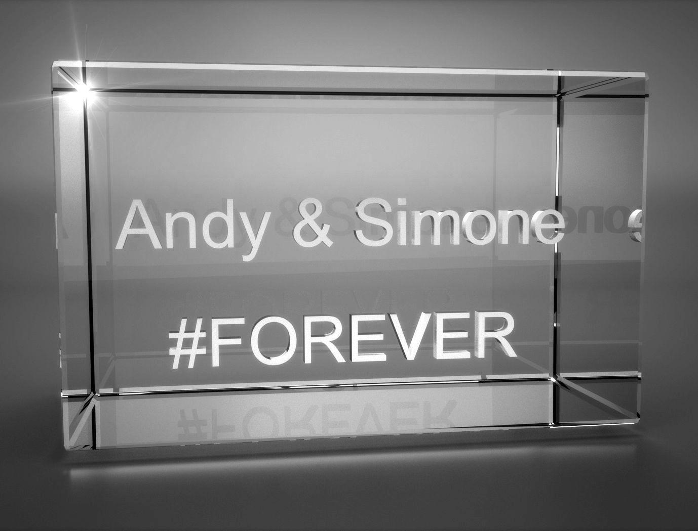3D Glasquader   Motiv Hashtag   #FOREVER + Wunschtext
