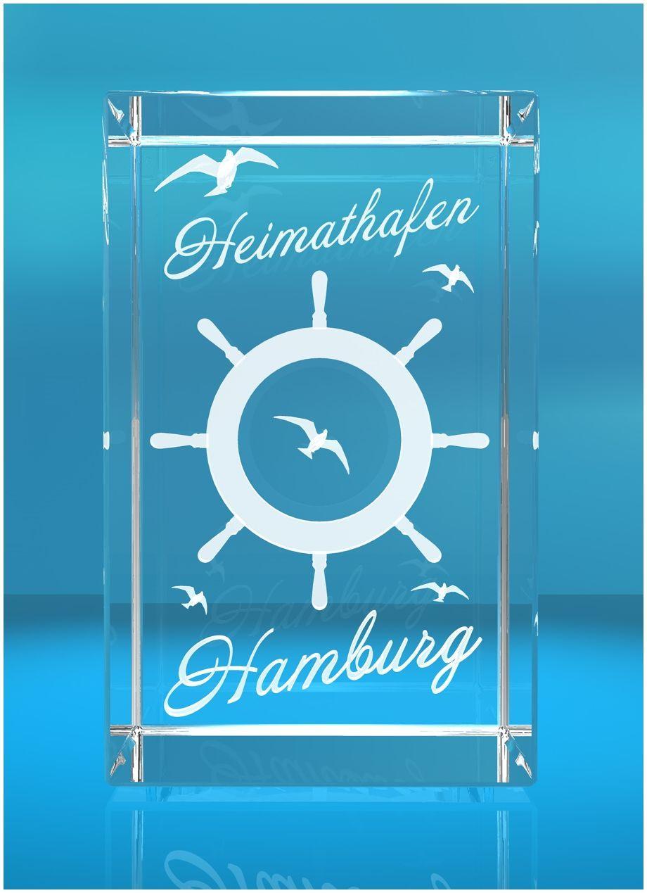 3D Glasquader I Hamburg I Steuerrad mit Text Heimathafen