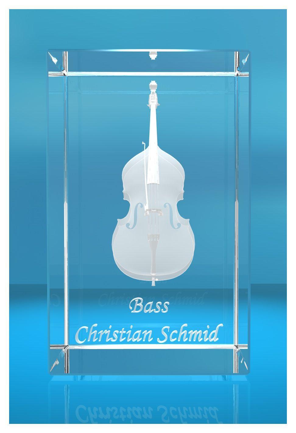3D Glasquader |Kontrabass | Bass mit Wunschnamen | Geschenk für Bassist | Musiker | Orchester