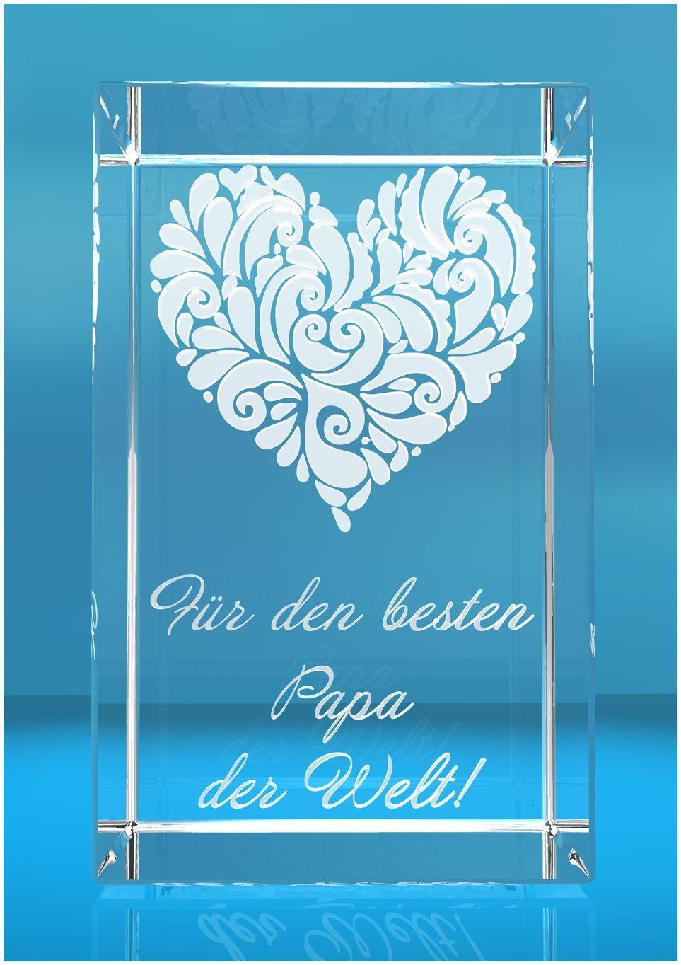 3D Glasquader I Motiv: Verziertes Herz   Bester Papa der Welt