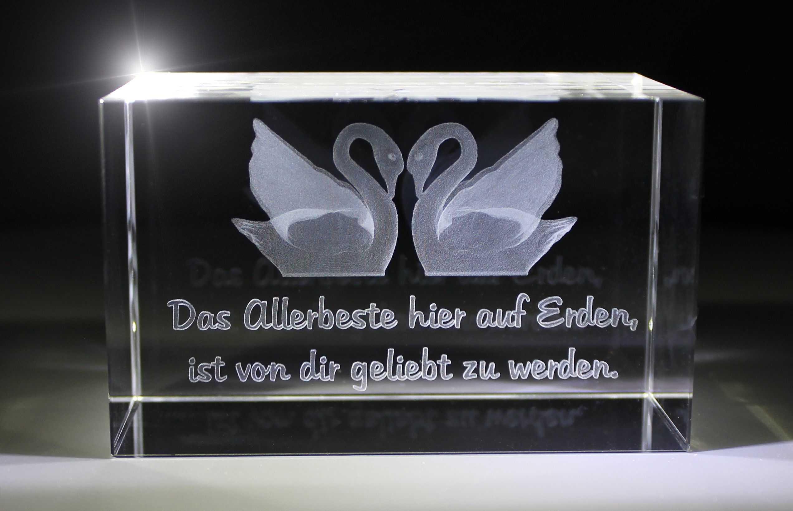 3D Glasquader   Zwei Schwäne   Das allerbeste hier auf Erden...