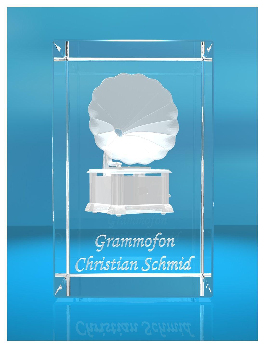 3D Glasquader |Grammofon mit Wunschnamen |Grammophon| Geschenk für Musiker