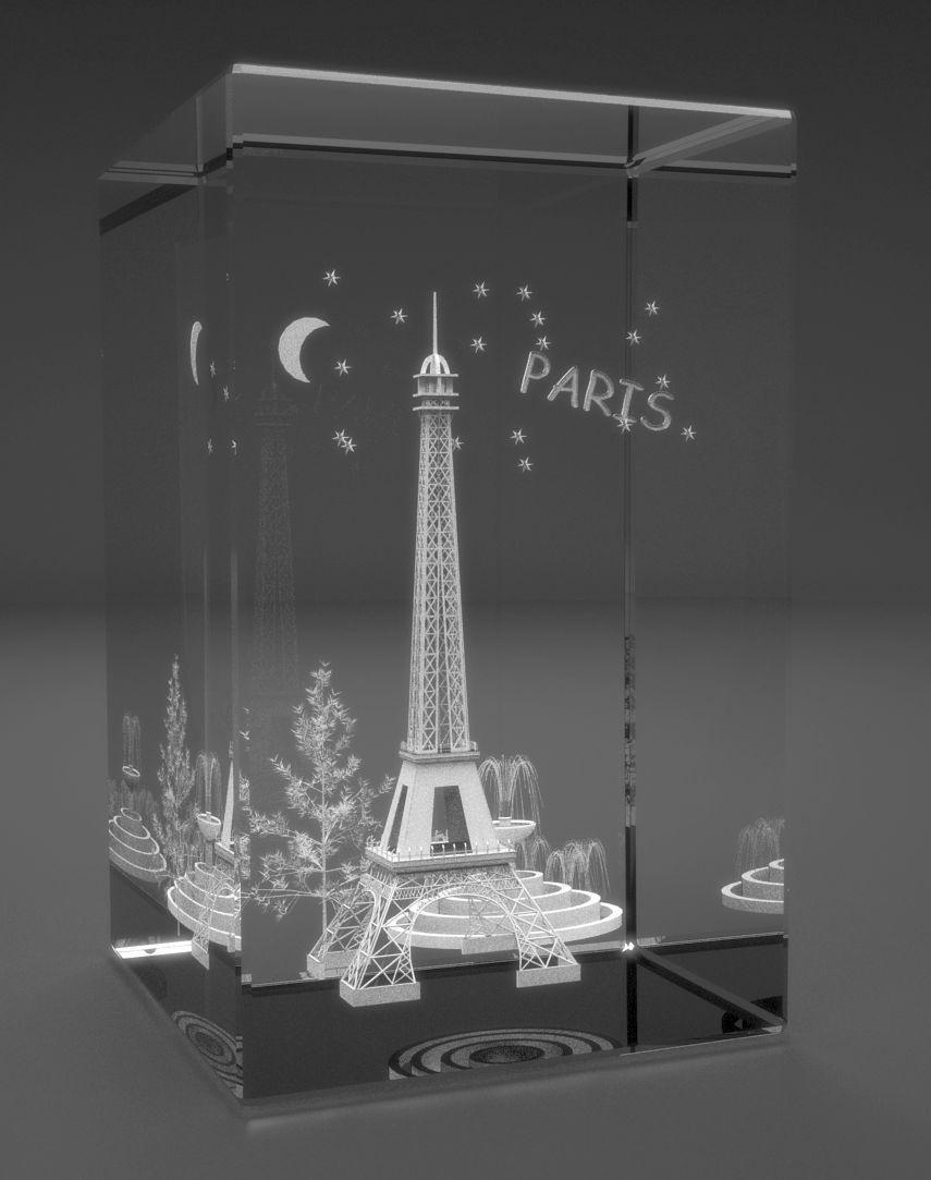 3D Glasquader   Motiv: Eiffelturm von Paris (Motiv 2)