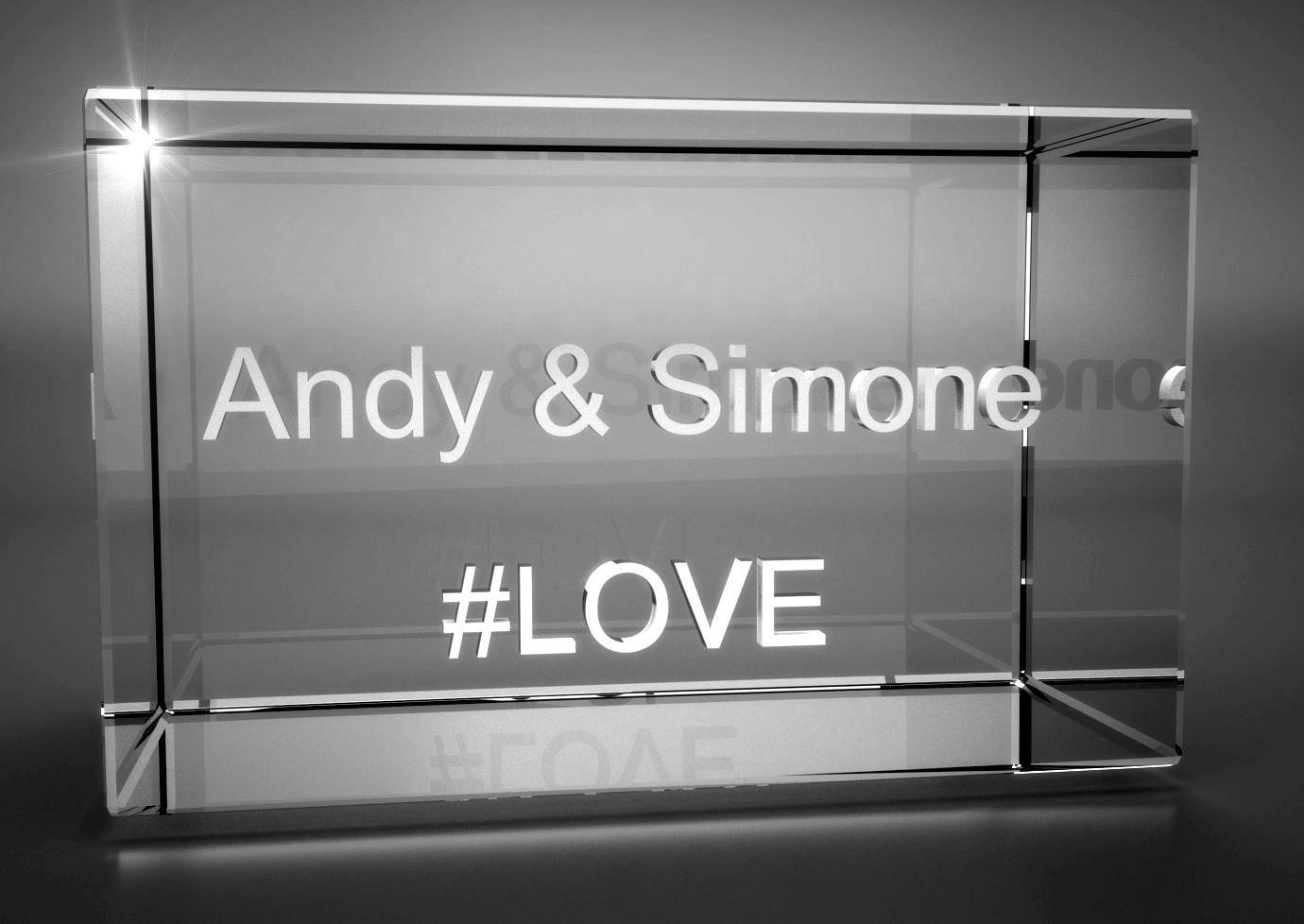 3D Glasquader   Motiv Hashtag   #LOVE + Wunschtext
