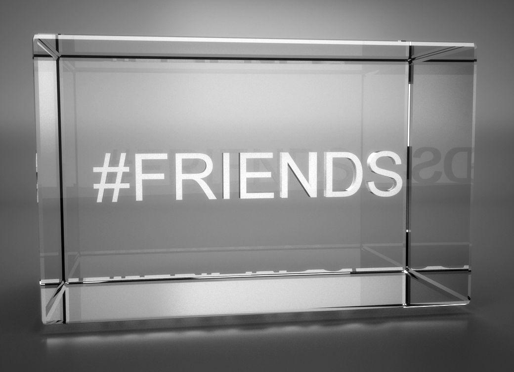 3D Glasquader   Motiv Hashtag   #FRIENDS