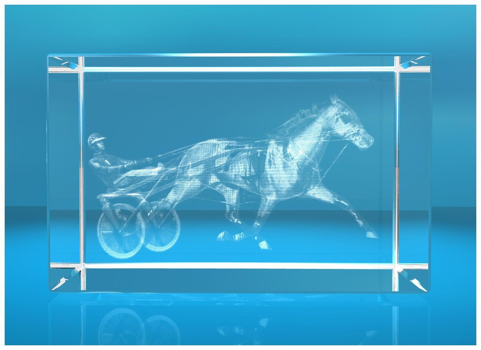 3D Glasquader   Motiv: Pferderennen