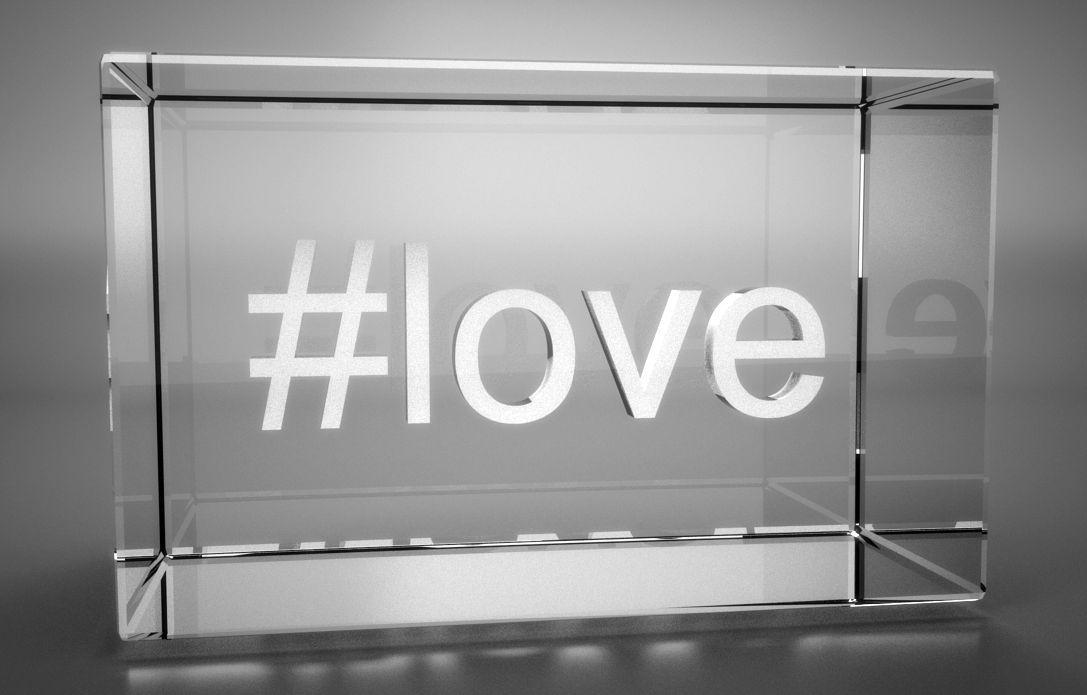 3D Glasquader   Motiv Hashtag   #love