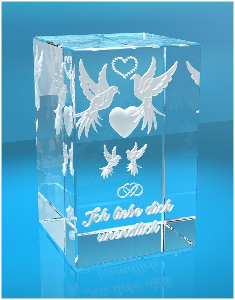 3D Glasquader I Tauben mit Text Ich liebe Dich unendlich
